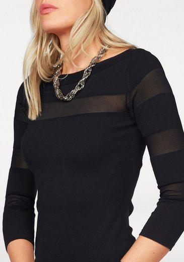 Melrose 3/4 Arm-Pullover, mit transparenten Streifen