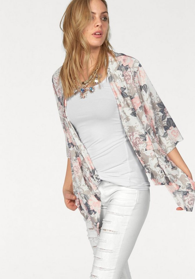 Melrose Shirtjacke im Kimono Schnitt in rosa-grau