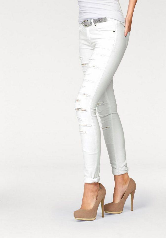 Melrose Röhrenjeans im Destroyed-Look in weiß
