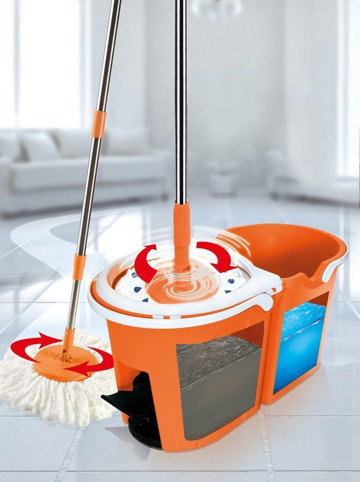 TV Werbung HSP, Putzglück Clever Spin Boden-Wischsystem Premium-Orange in weiß, orange