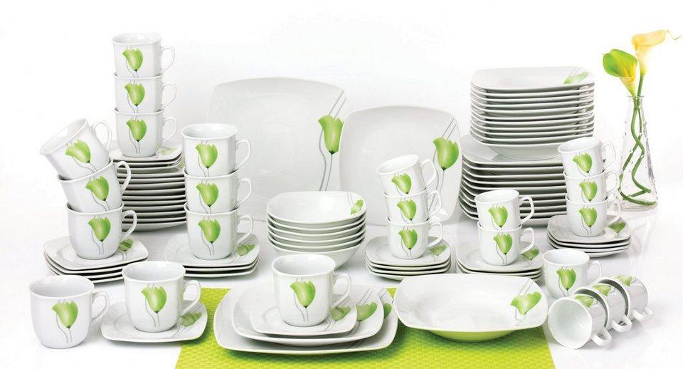 Retsch Kombiservice Porzellan, 90 Teile, »Jade« in weiß/grün