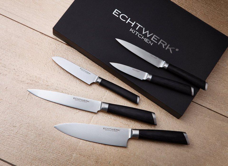 Echtwerk Damaszener Messer-Set (5tlg.) in silberfarben/schwarz