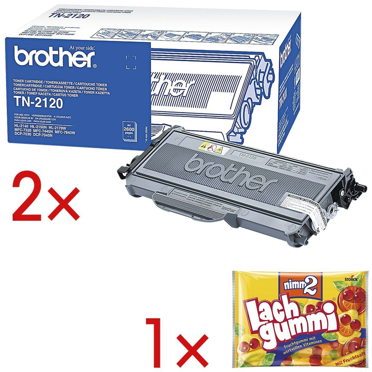 Brother 2x Druckkassette inkl. 1x Fruchtgummi »TN-2120« 1 Set