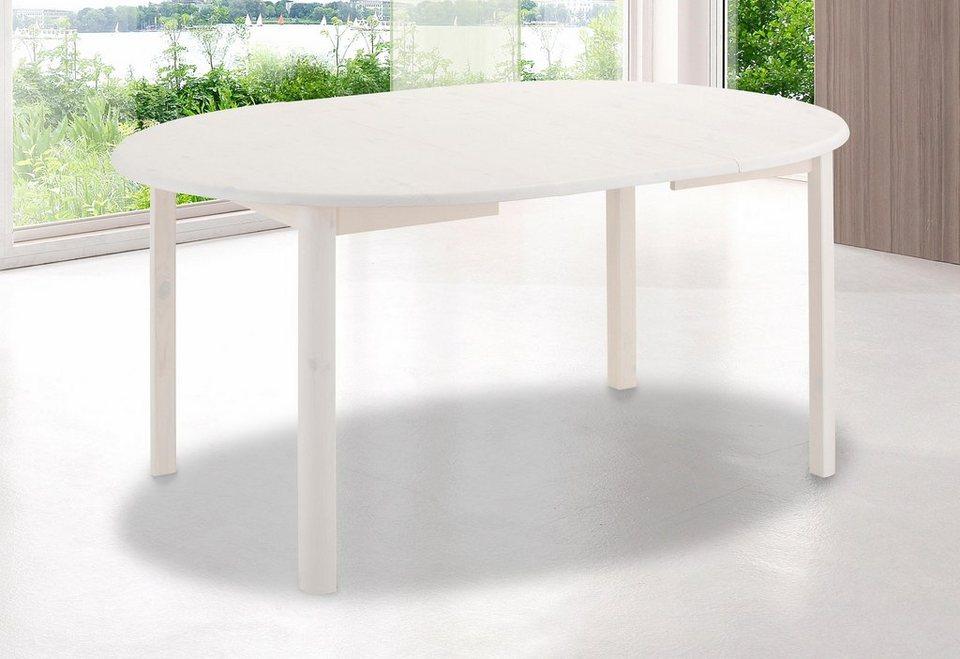 Home affaire Esstisch »Marlo« mit ausziehbarer Tischplatte, in 2 Größen in weiß