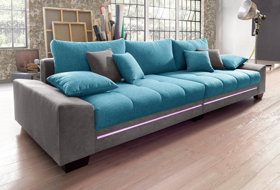 big sofa mit beleuchtung wahlweise mit bluetooth soundsystem online kaufen otto. Black Bedroom Furniture Sets. Home Design Ideas
