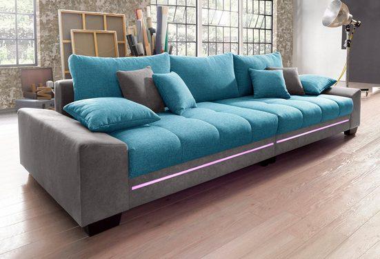 Nova Via Big-Sofa, wahlweise mit Kaltschaum (140kg Belastung/Sitz) und Bluetooth-Soundsystem, sowie RGB-LED-Beleuchtung