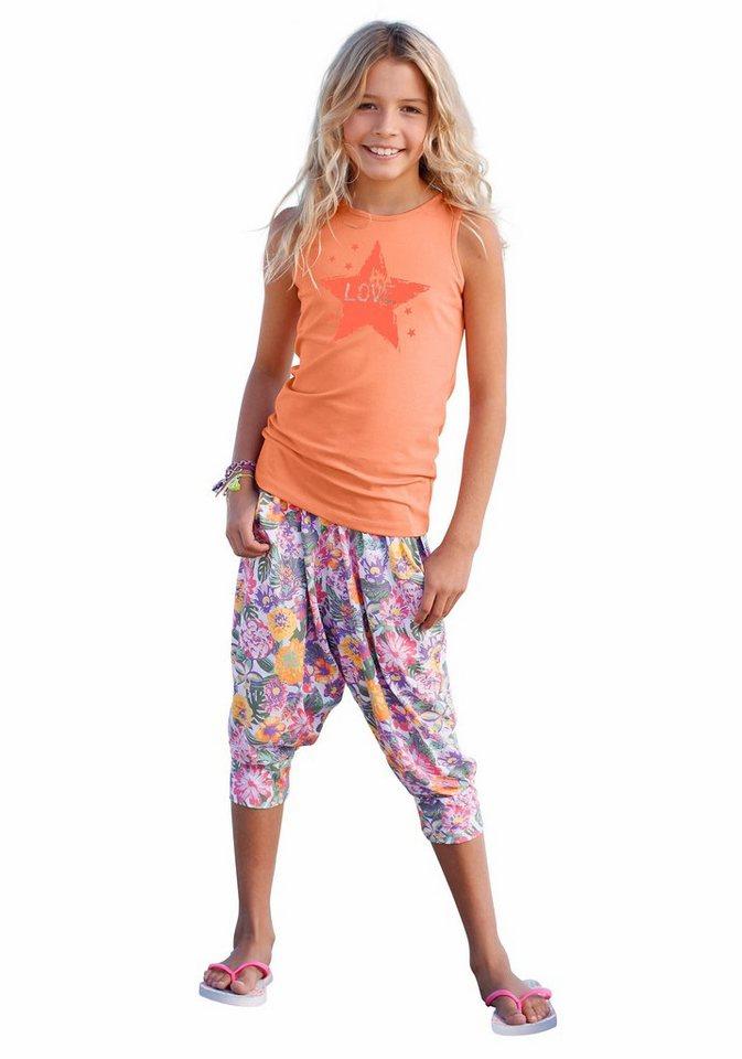 KIDSWORLD Top & Hose (2-tlg.), für Mädchen in Apricot-bunt-bedruckt-gemustert