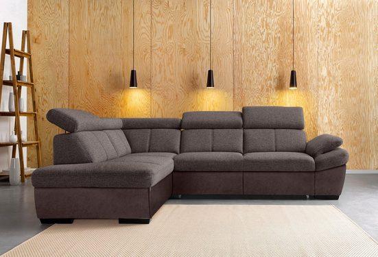 exxpo - sofa fashion Ecksofa, mit Ottomane, wahlweise mit Bettfunktion