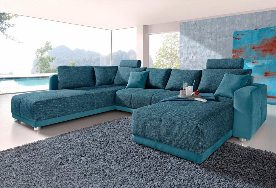 Blue Sofa Roomed Wohnlandschaft Mit Federkern Und Bettfunktion Furniture Beautiful Green