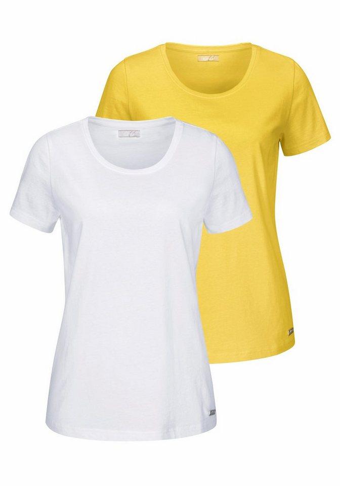 Cheer T-Shirt mit kurzen Ärmeln (Packung, 2 tlg., 2er-Pack) in gelb+weiß