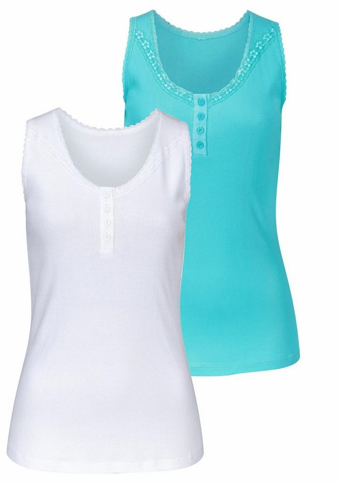 Cheer Spitzentop mit Spitzenverzierung (Packung, 2 tlg.) in aquablau+weiß