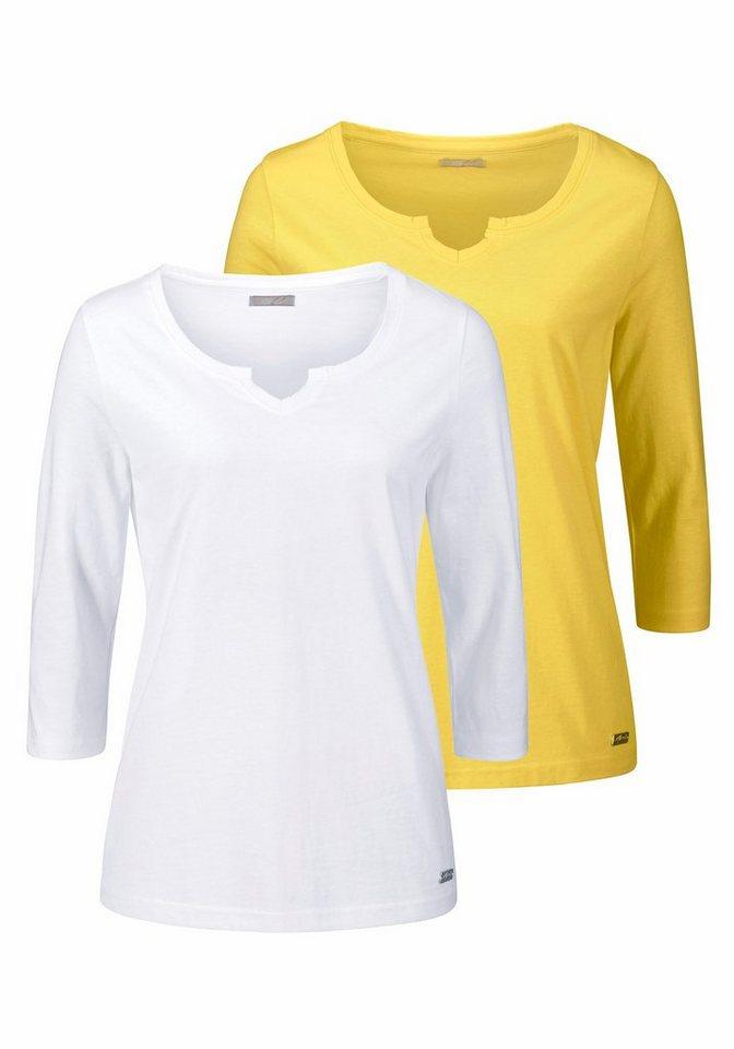 Cheer 3/4-Arm-Shirt mit 3/4-langen Ärmeln (Packung, 2 tlg., 2er-Pack) in gelb+weiß
