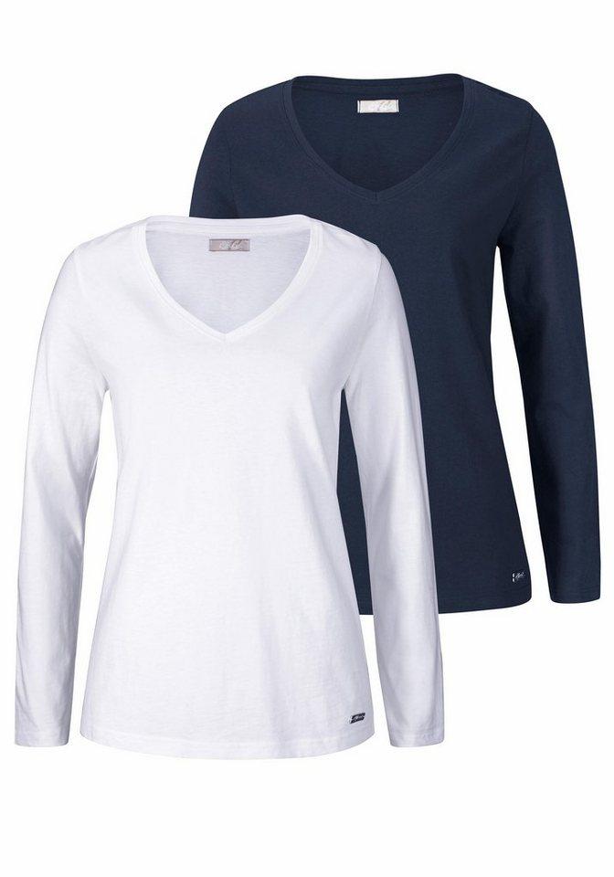 Cheer Langarmshirt mit V-Ausschnitt (Packung, 2 tlg., 2er-Pack) in marine+weiß