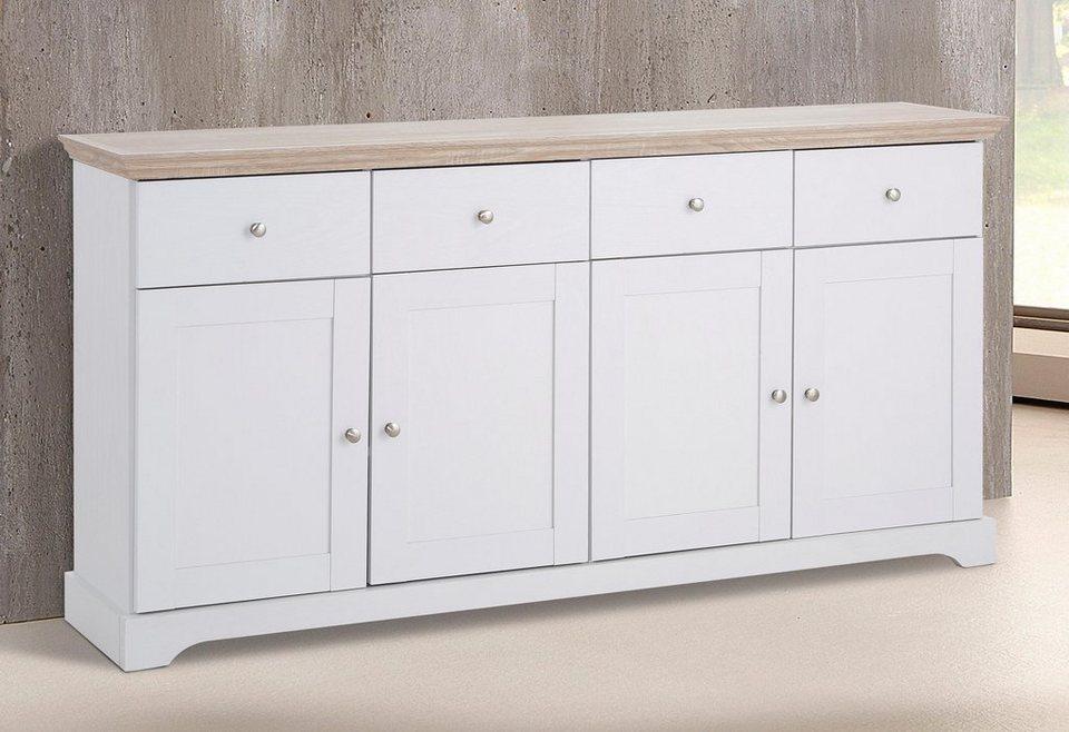 Home affaire Sideboard »Anna«, Breite 161 cm (4-trg.) in weiß/sonoma eichefarben
