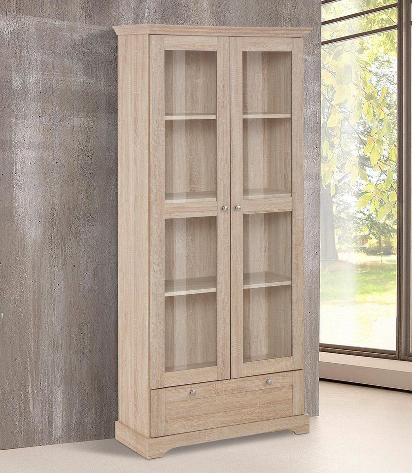 Home affaire Vitrine »Anna« , Höhe 180 cm (2-trg.) in sonoma eichefarben