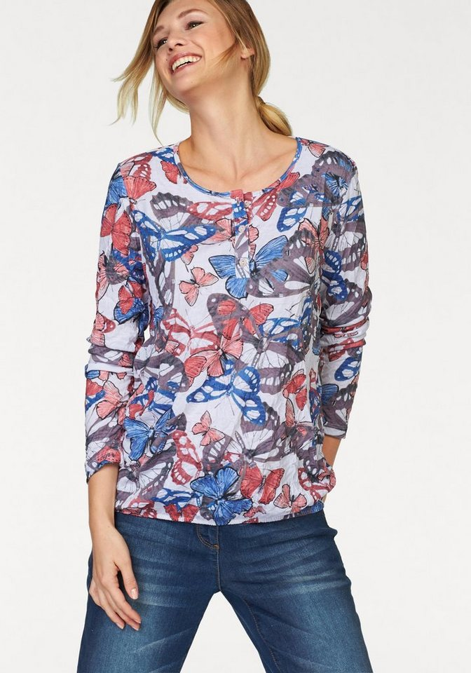 Cheer Langarmshirt in weiß-blau-rot-grau-bedruckt