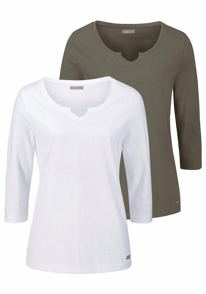 Cheer 3/4-Arm-Shirt mit 3/4-langen Ärmeln (Packung, 2 tlg., 2er-Pack) in taupe+weiß
