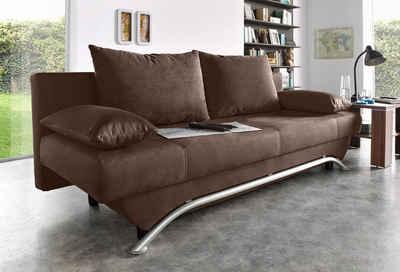 INOSIGN Schlafsofa, inklusive Bettfunktion und Bettkasten, inklusive loser Zier- und Rückenkissen, frei im Raum stellbar