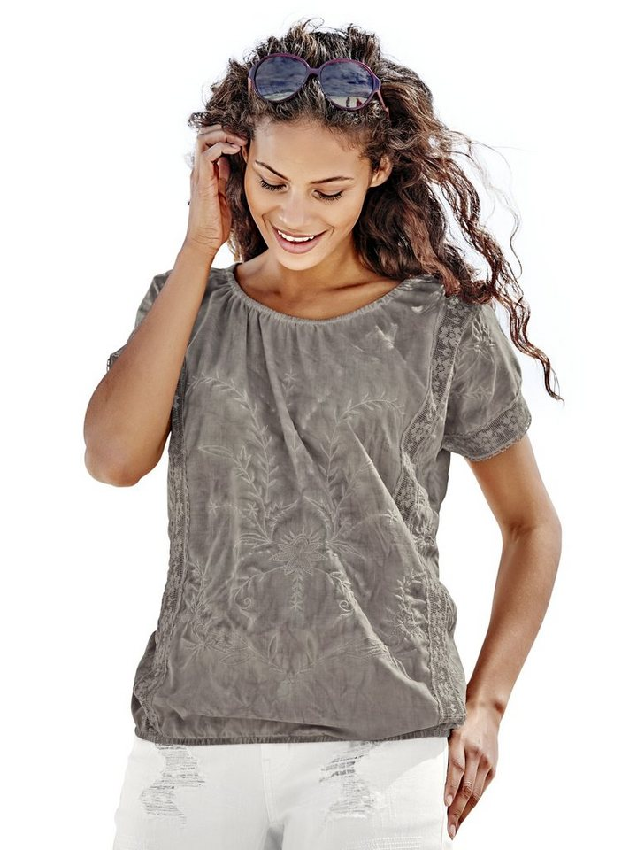 Stickereibluse in taupe
