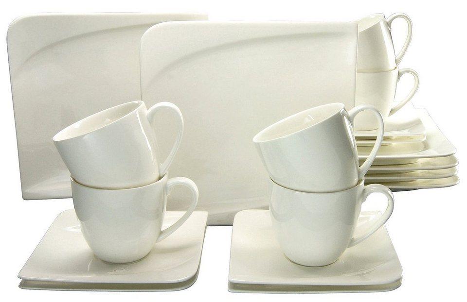 CreaTable Kaffeeservice, Porzellan, 18 Teile, »Java« in cremefarben