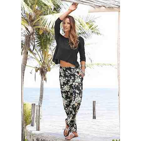 s.Oliver RED LABEL Beachwear Strandhose mit floralem Druck