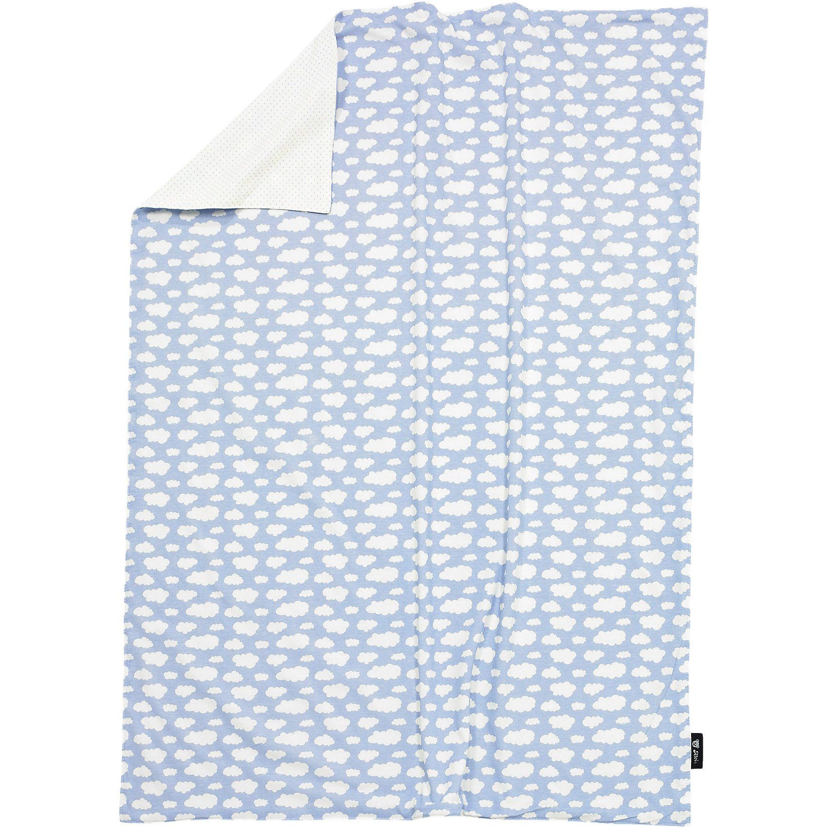 Alvi Babydecke, Jersey, Wolke, blau, 75 x 100 cm