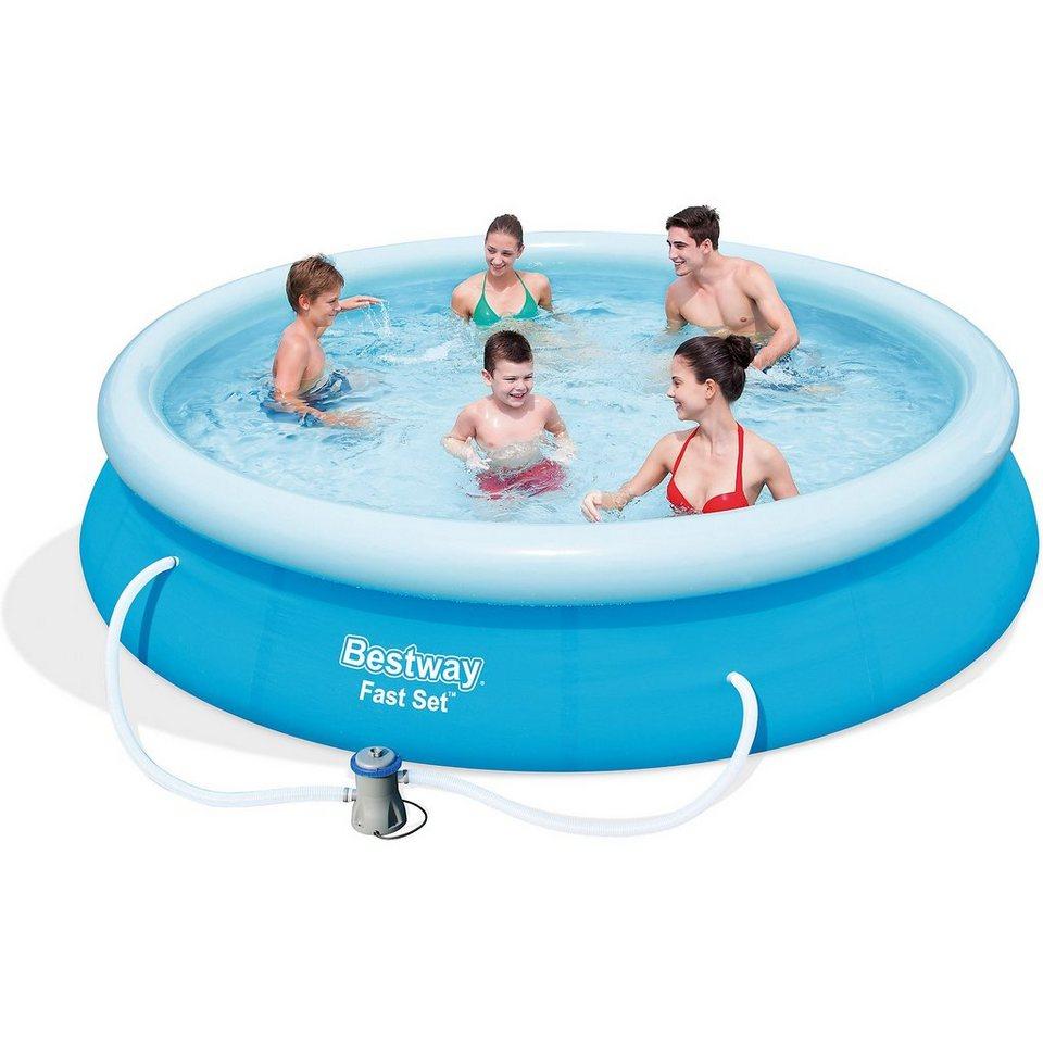 bestway fast set pool set mit filterpumpe 366 x 76cm online kaufen otto. Black Bedroom Furniture Sets. Home Design Ideas
