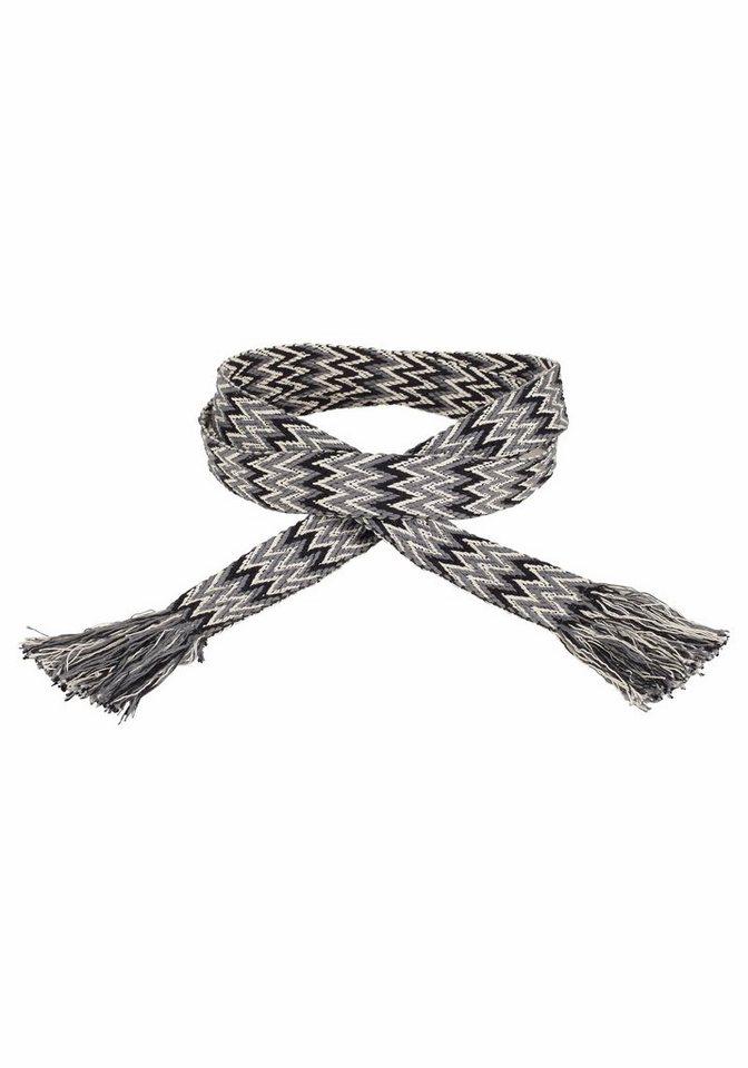 J. Jayz Stoffgürtel mit dekorativem Muster in grau-schwarz