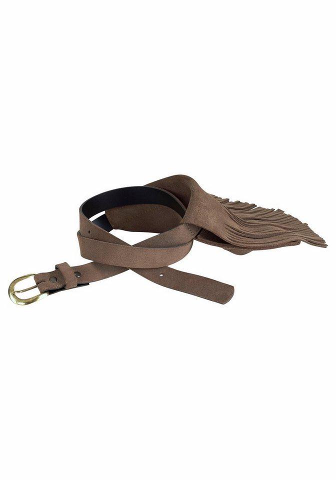 J. Jayz Ledergürtel mit Fransen Tasche in taupe