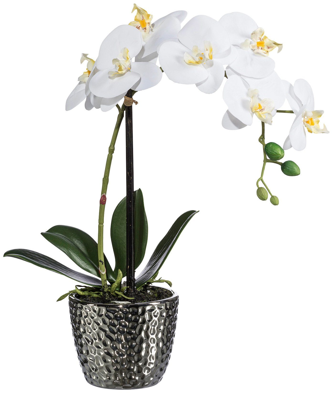 Kunstpflanze »Orchidee« weiß inkl. Pflanzgefäß (H: 45 cm)