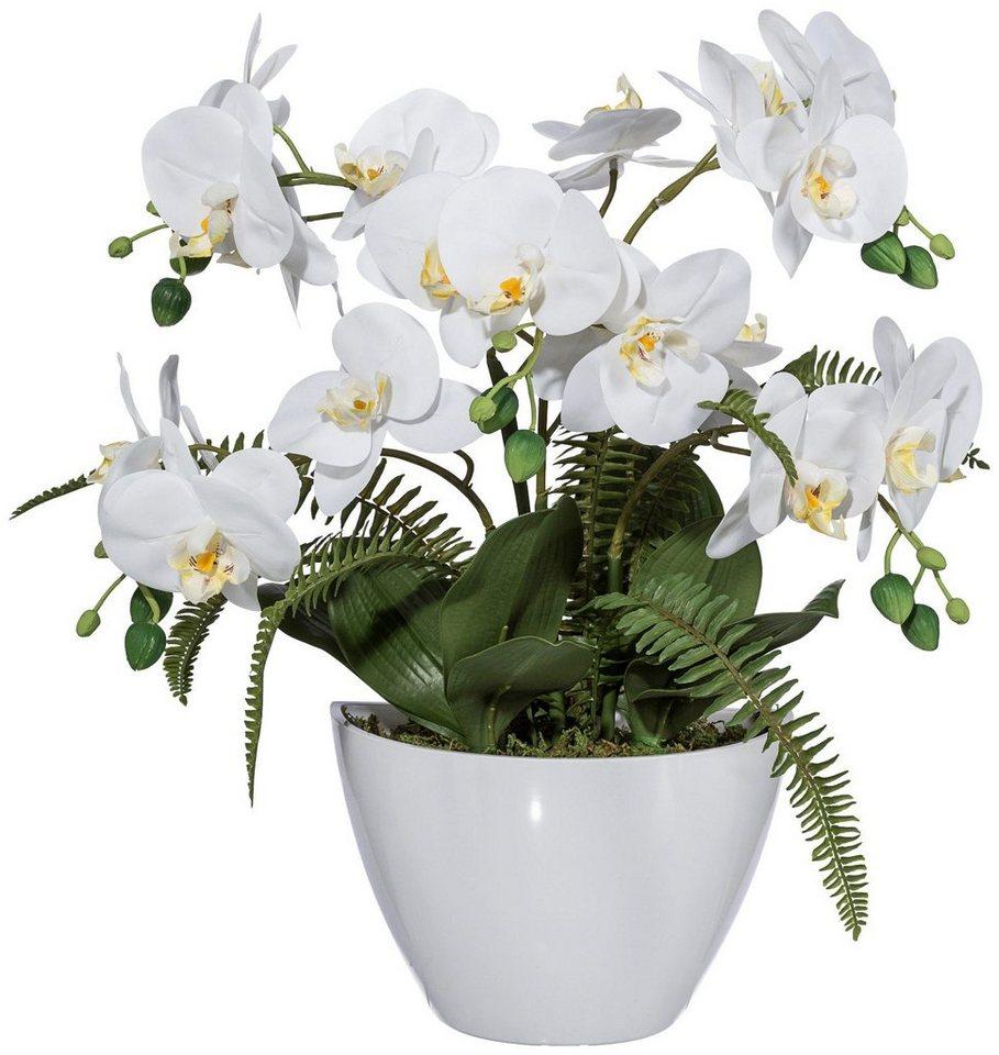 Kunstpflanze »Orchideengesteck« weiß inkl. Pflanzgefäß in weiß