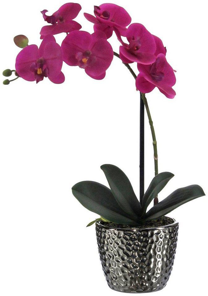 Kunstpflanze »Orchidee« lila inkl. Pflanzgefäß (H: 45 cm) in lila