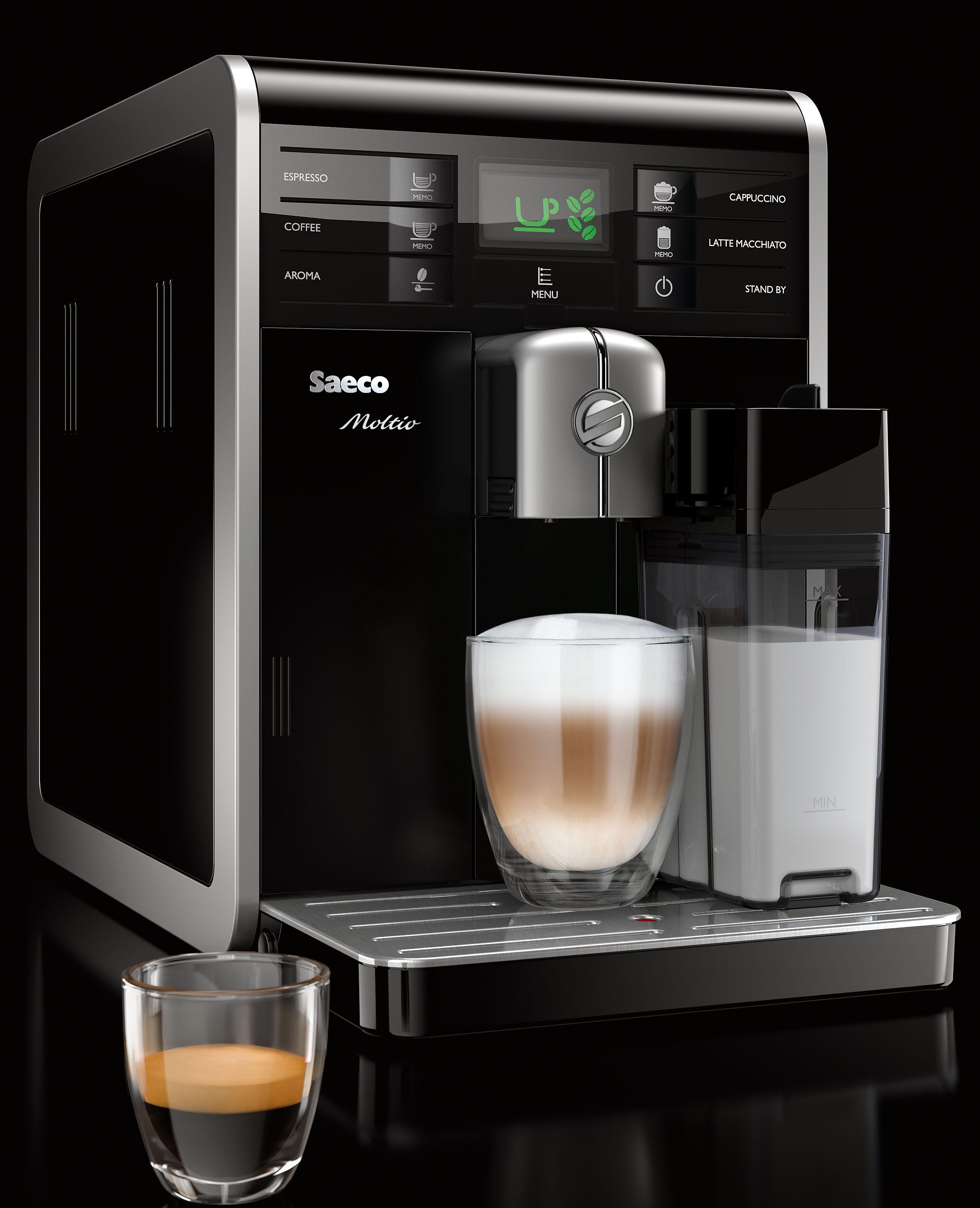 Saeco Kaffeevollautomat HD8769/01 Moltio One Touch, 1,9l Tank, Scheibenmahlwerk, mit integrierter Milchkaraffe