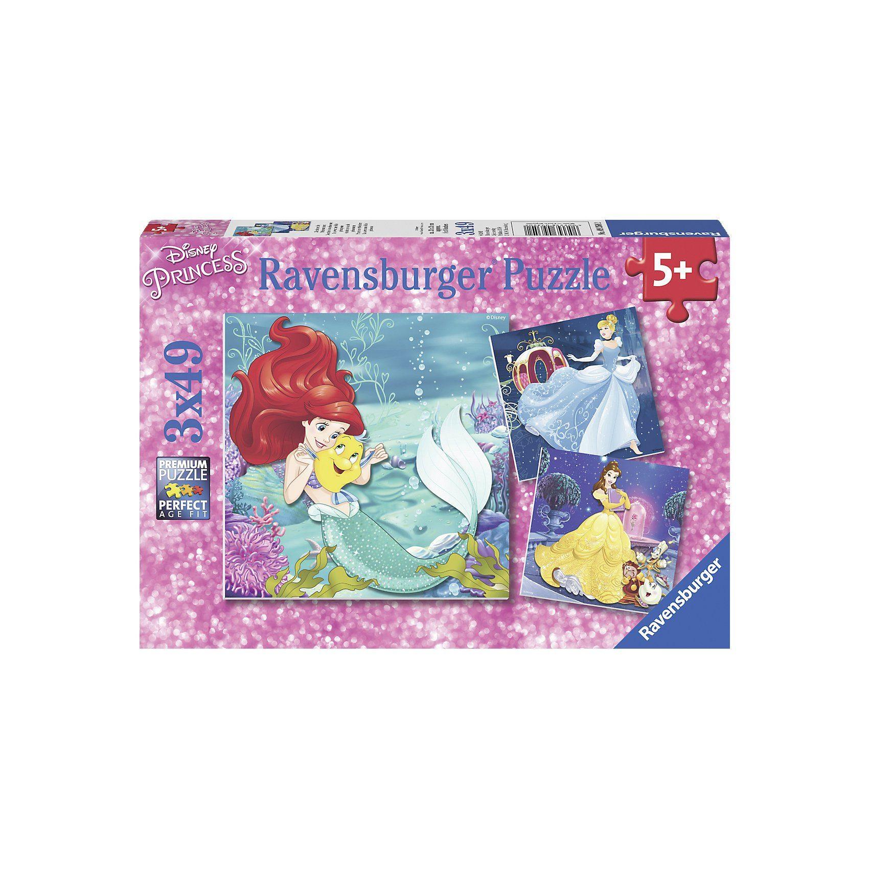 Ravensburger Puzzle Disney Princess: Abenteuer der Prinzessinnen 3 x 49 T