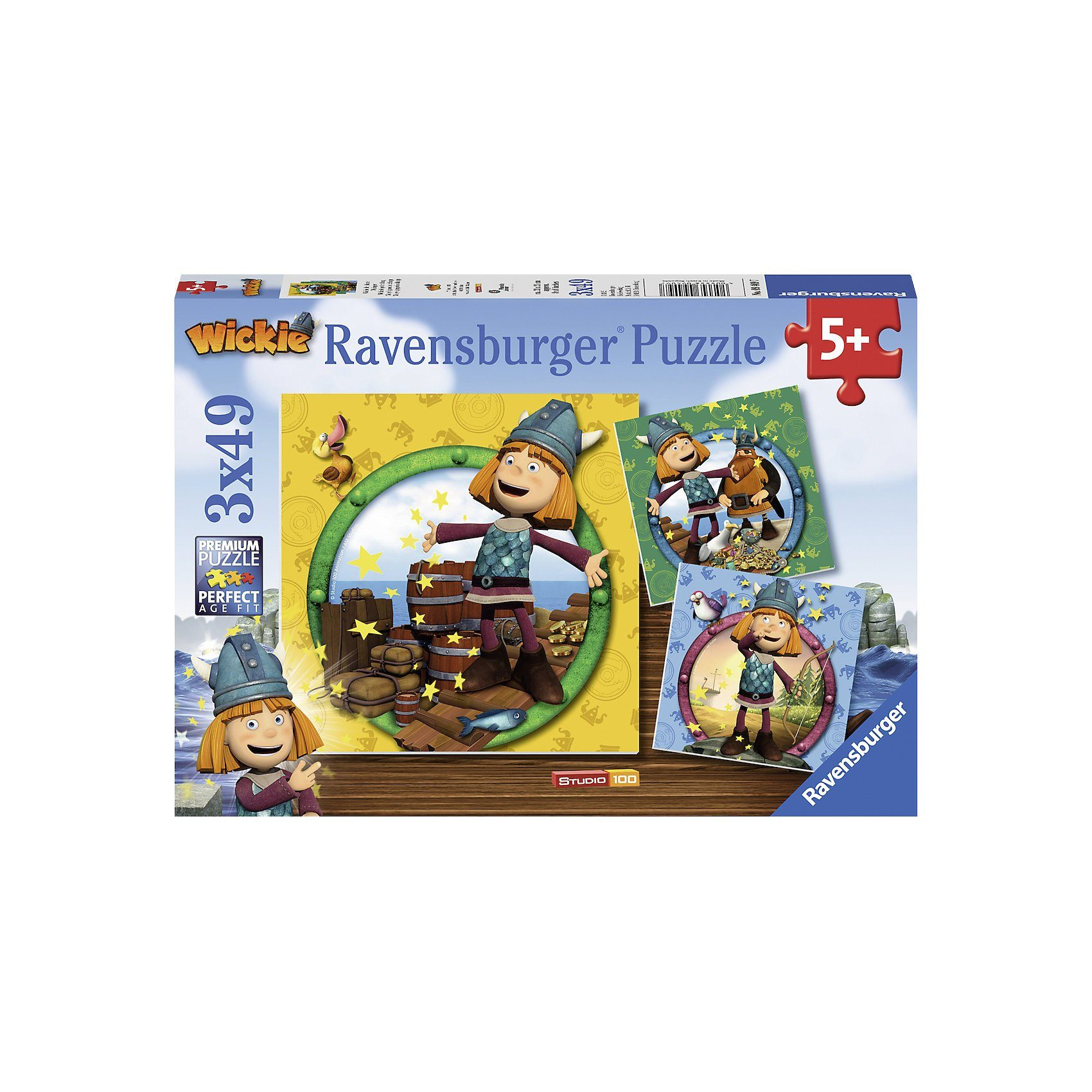 Ravensburger Puzzle Wickie der kleine Wikinger 3 x 49 Teile