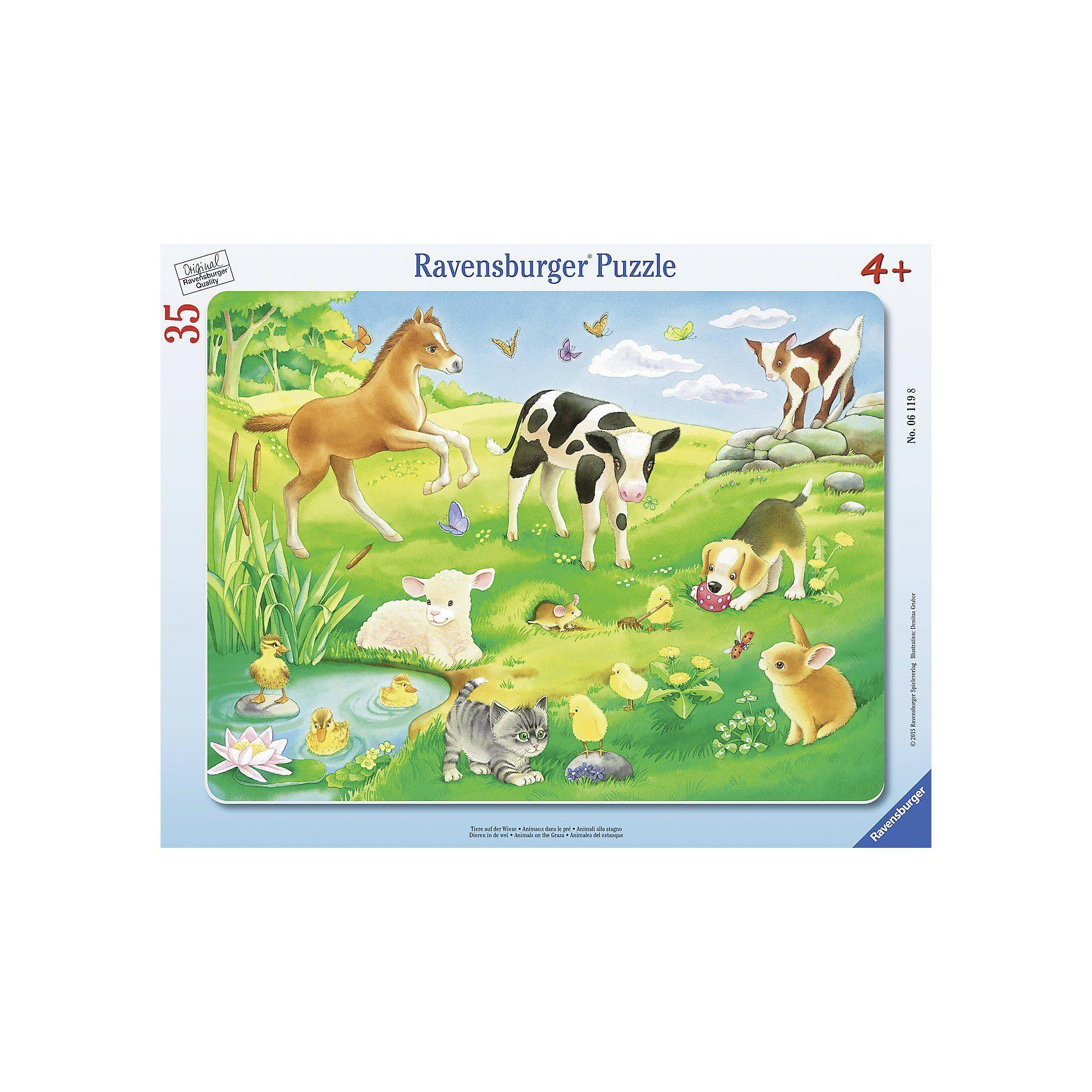 Ravensburger Rahmenpuzzle Tiere auf der Wiese 35 Teile