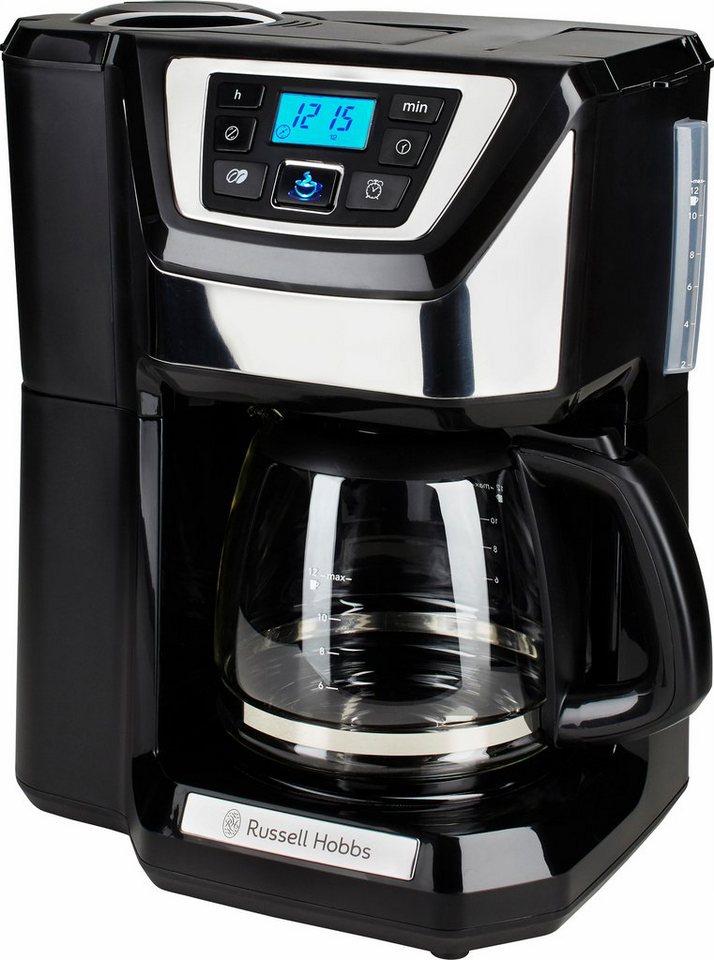 Russell Hobbs Digitale Glas-Kaffeemaschine Chester 22000-56 mit Mahlwerk, für 1,5 Liter in schwarz/silber