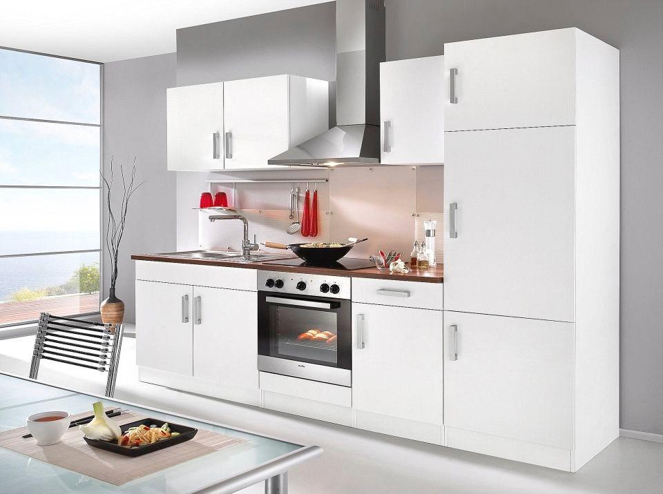 Küchenzeile ohne E-Geräte »Toronto«, Breite 270 cm in weiß/nussbaumfarben