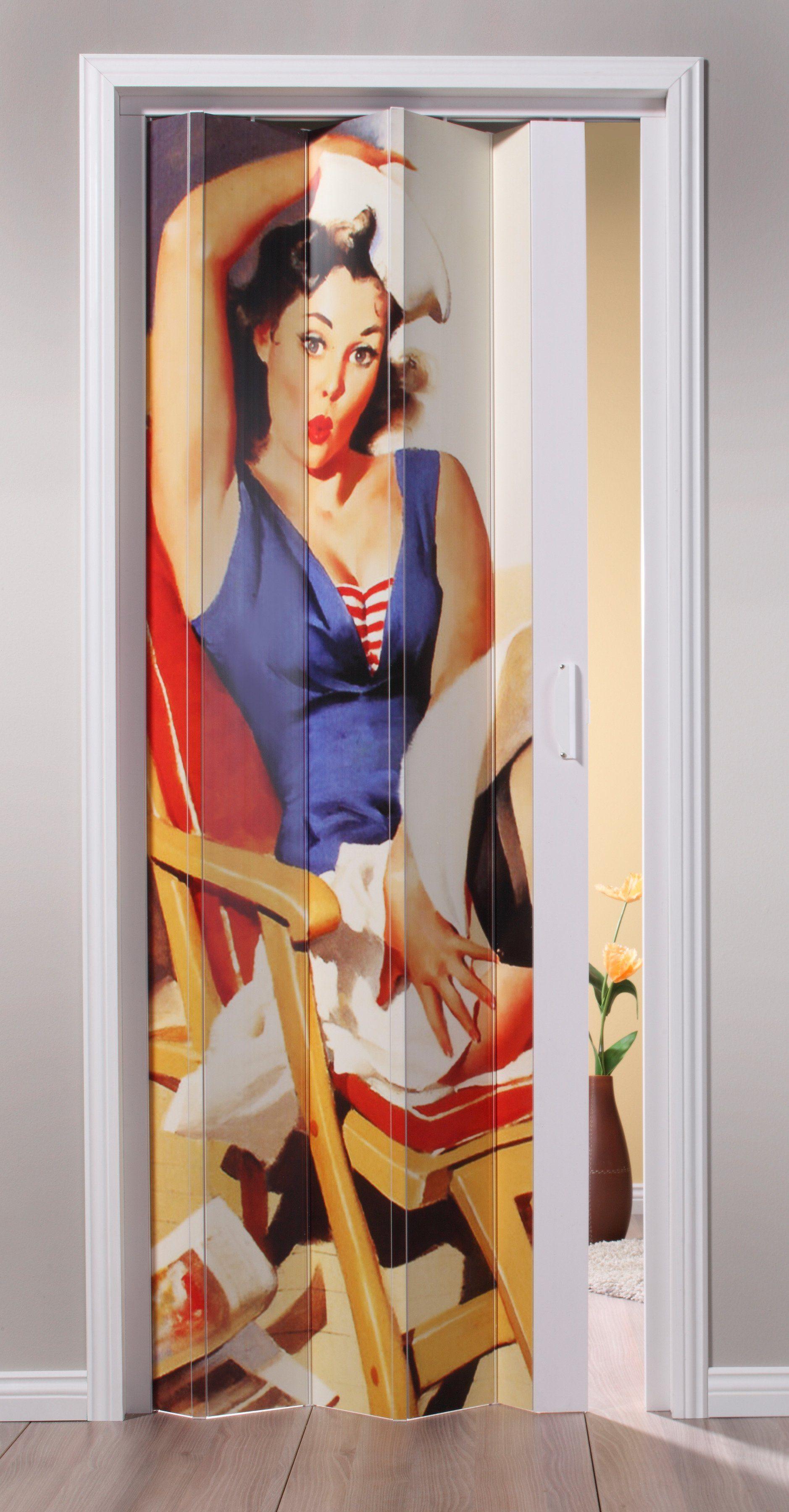 Kunststoff-Falttür »St. Tropez«, BxH: 88,5x202 cm, Weiß mit Motivdruck