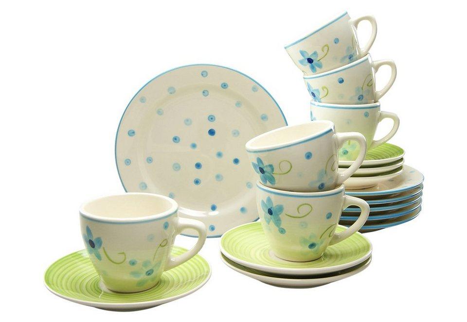 CreaTable Steingut Kaffeeservice, handgemalt, »Borkum« (18-tlg.) in grün/blau