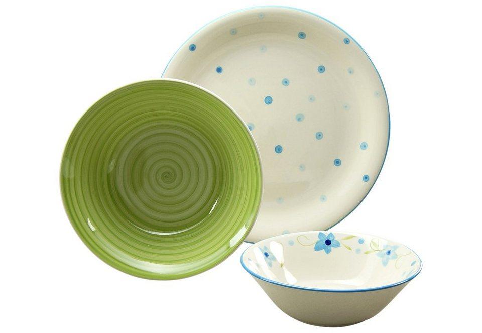 CreaTable Steingut Servier-Set, handgemalt, »Borkum« (3-tlg.) in grün/blau