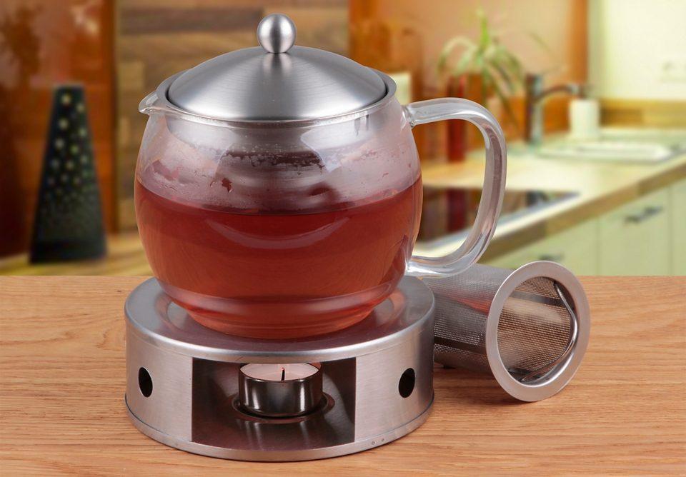 CHG Teekanne mit Filtereinsatz und Stövchen