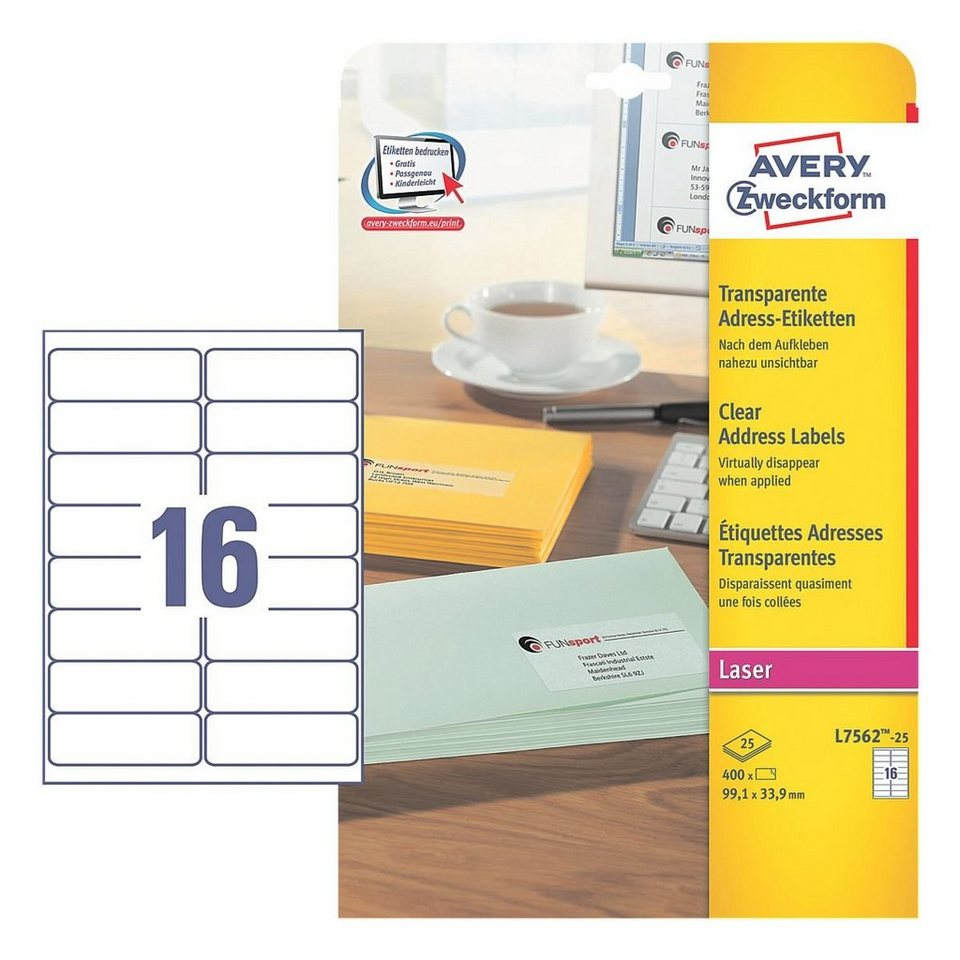 Avery Zweckform 400er-Pack Folien-Etiketten »L7562-25«
