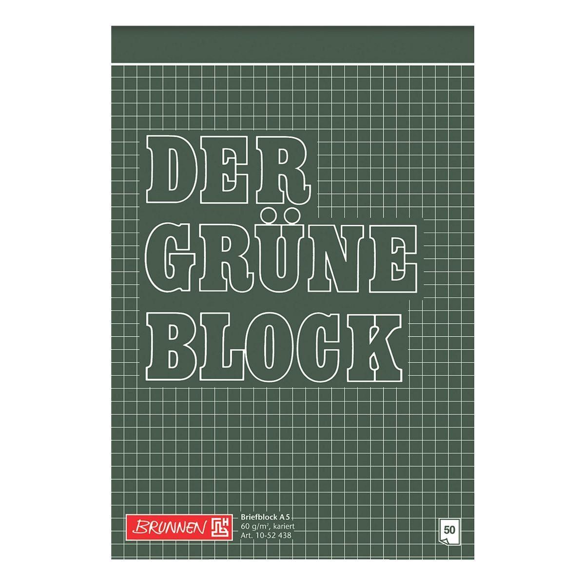 BRUNNEN Briefblock A5 kariert »Der grüne Block«