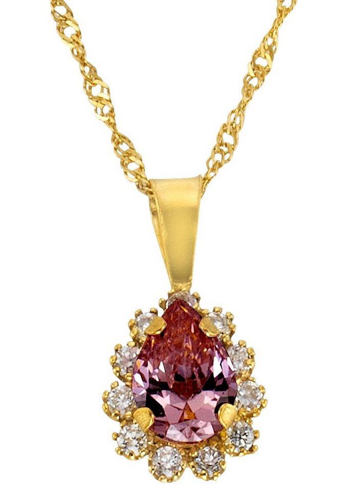 firetti Halsschmuck: Halskette mit Anhänger mit Zirkonia in Gelbgold 333/rosa