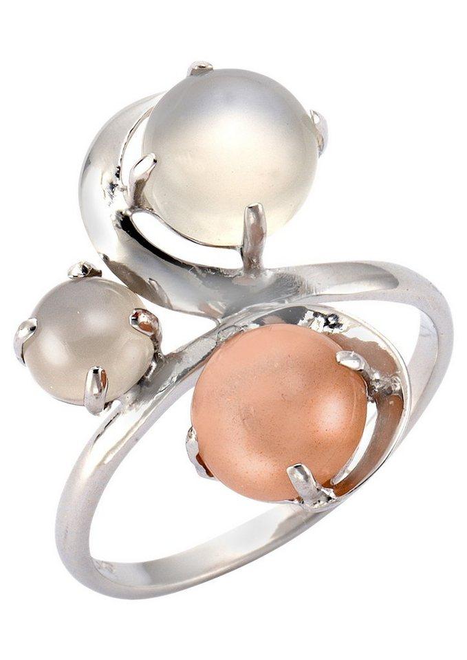 firetti Ring mit Mondstein in Silber 925/bunt