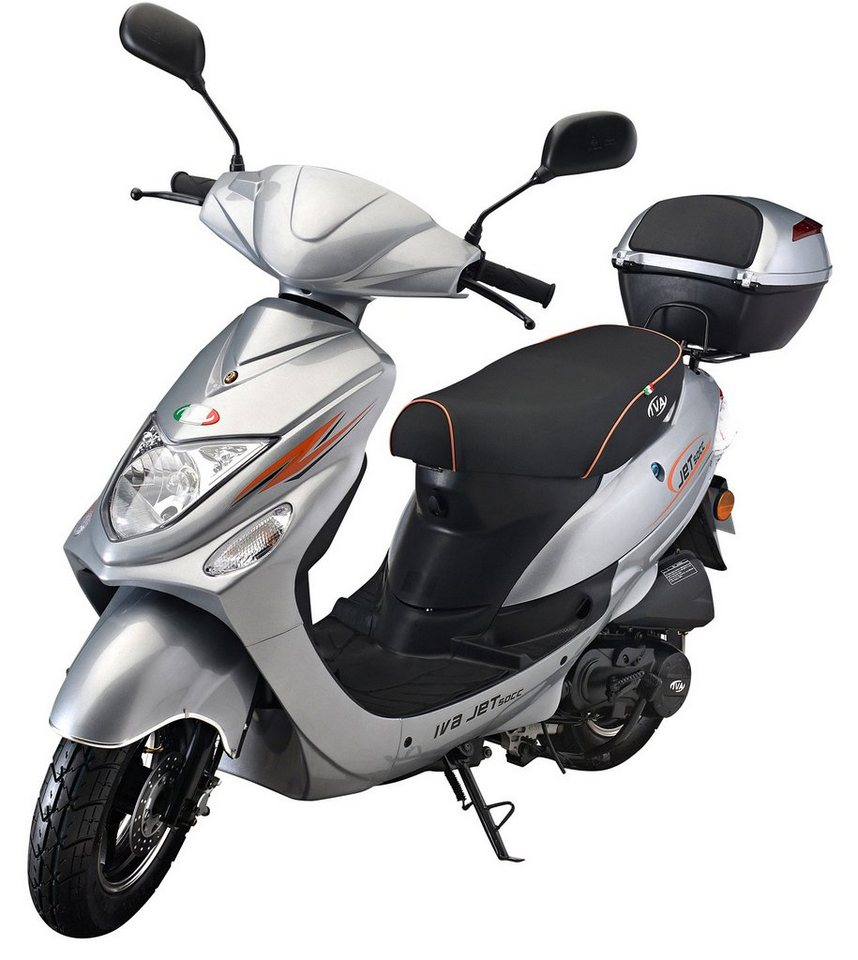 iva motorroller inkl topcase 49 ccm 45 km h silber. Black Bedroom Furniture Sets. Home Design Ideas