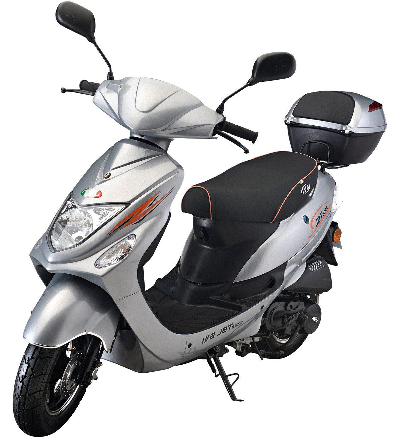IVA Motorroller inkl. Topcase, 49 ccm, 45 km/h, silber, »Jet New«