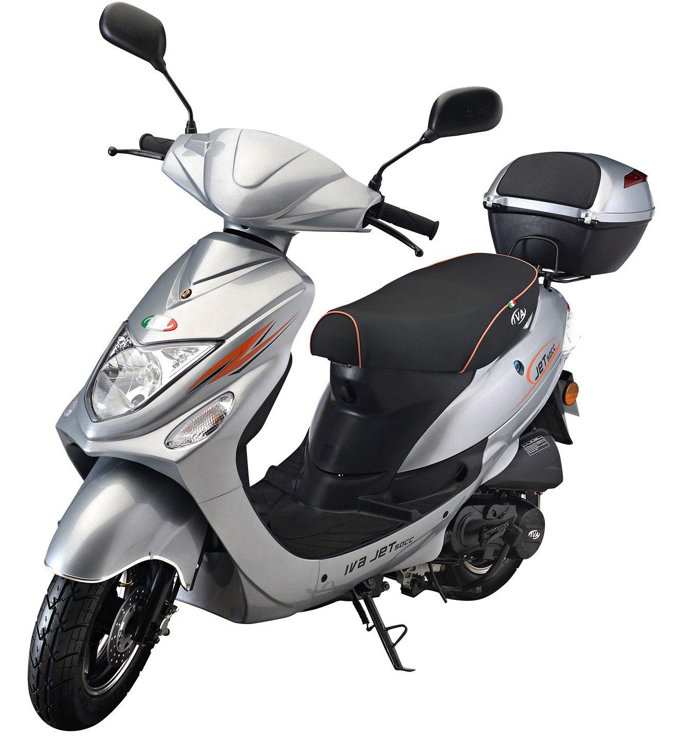 IVA Mofaroller inkl. Topcase, 49 ccm, 25 km/h, silber, »Jet New«