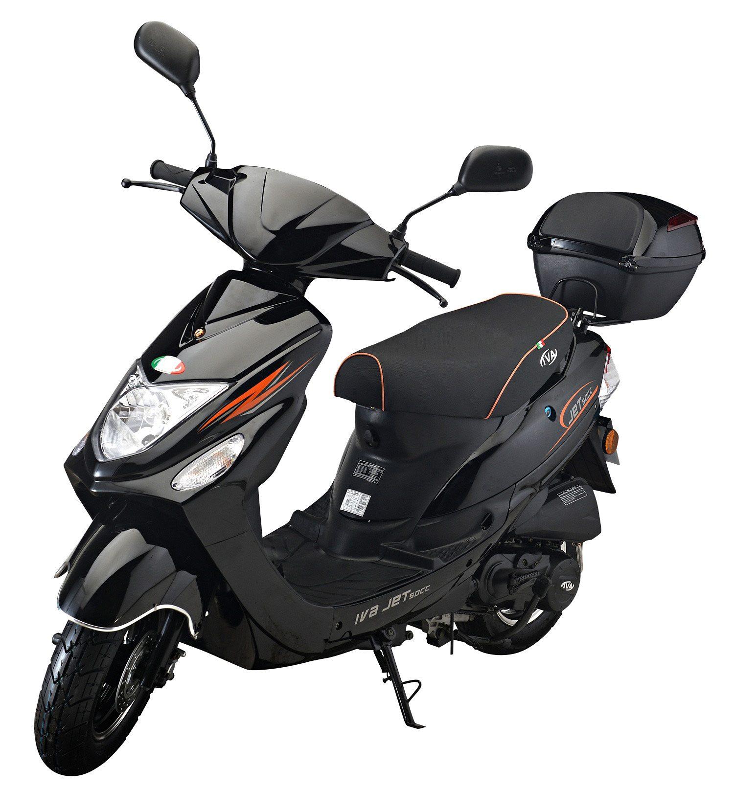 IVA Mofaroller inkl. Topcase, 49 ccm, 25 km/h, schwarz, »Jet New«